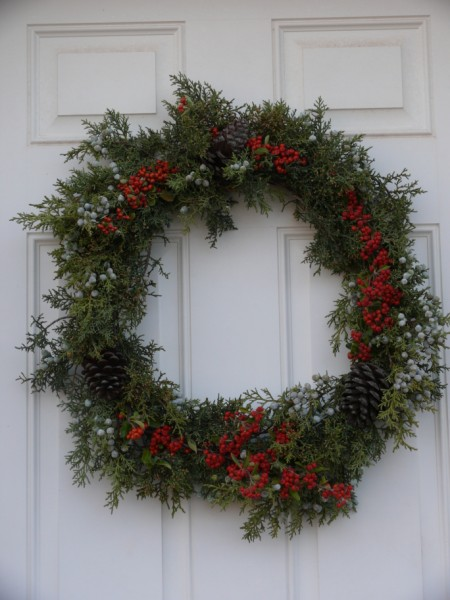 ...and here's the finished Holiday wreath!  Happy Holidays! (copyright Sharon Falsetto, all rights reserved)