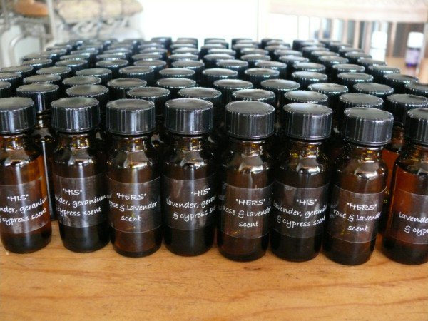 Putting together essential oil blends for wedding favors at Sedona Aromatherapie, copyright Sharon Falsetto, all rights reserved